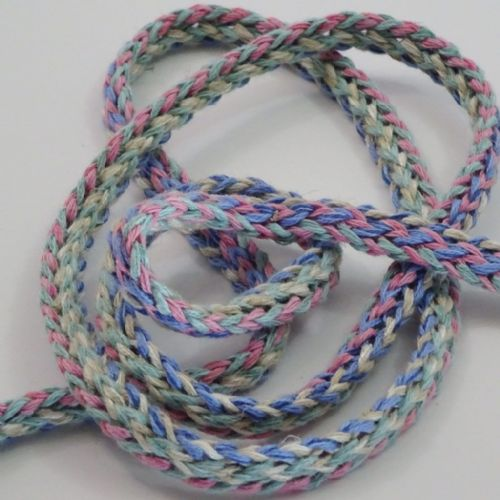 Tubular knit braid Sky, olive, Pink, Ecru 1.5cm wide